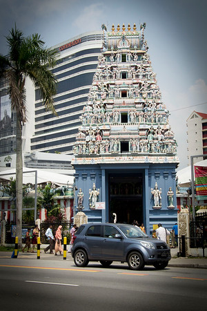 "Singapore Sri Srinivasa Perumal Temple, in the heart of Singapore's Little India. Built in the Dravidian (South Indian) style of temple architecture, there is an impressive 20 meter tall, 5 layered ""Gopuram"" (tower) at the entrance depicting the various incarnations of Lord Vishnu."