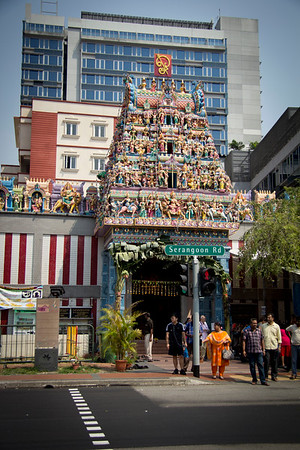 Singapore Sri Veeramakaliamman Temple is a key attraction in Singapore's Little India. A 14 hand Goddess Kali is the main deity of the temple.