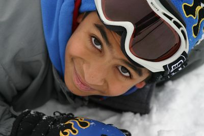 Arjun enjoying the snow