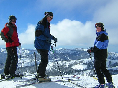 Darrow, Dick and Marny at the top of Siberia Bowl looking west