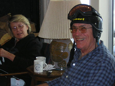 Joy and Dick - Dick discovers there IS a helmet out there that fits (it is actually Marny's so he had to give it back!)