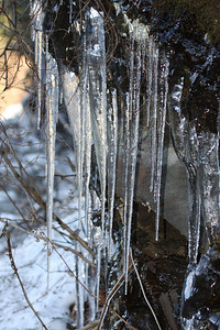 Frozen ice from water dripping off the rocks on the mountains along highway 441.