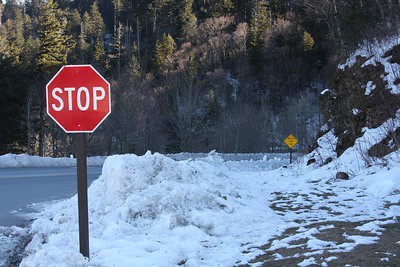 Stop sign along highway 441 in the Smoky Mountains.
