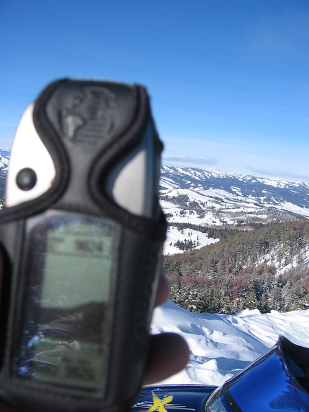 Wrong focus, but the GPS says 9824 feet at overlook.