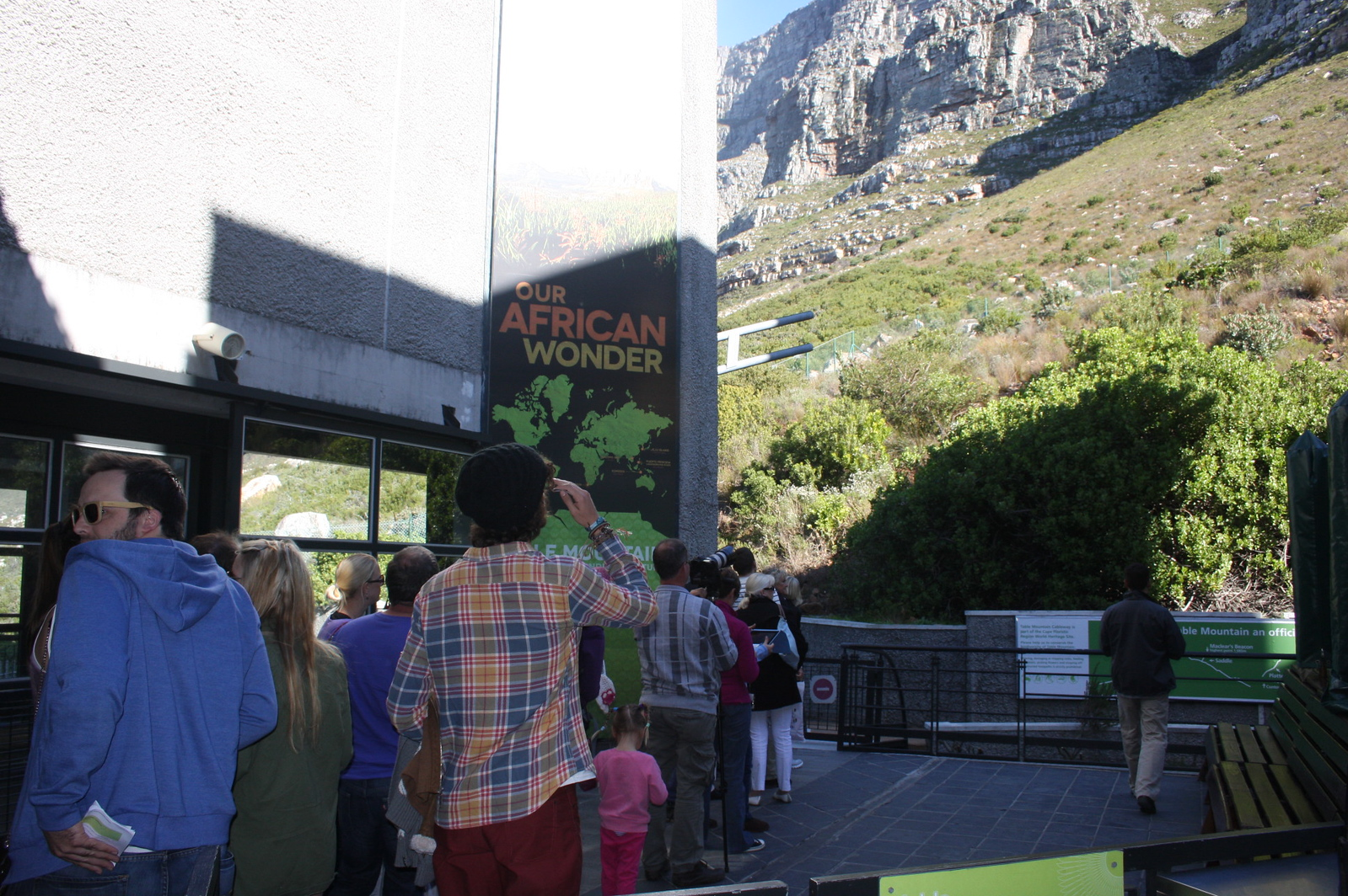 Line for cable car up the mountain