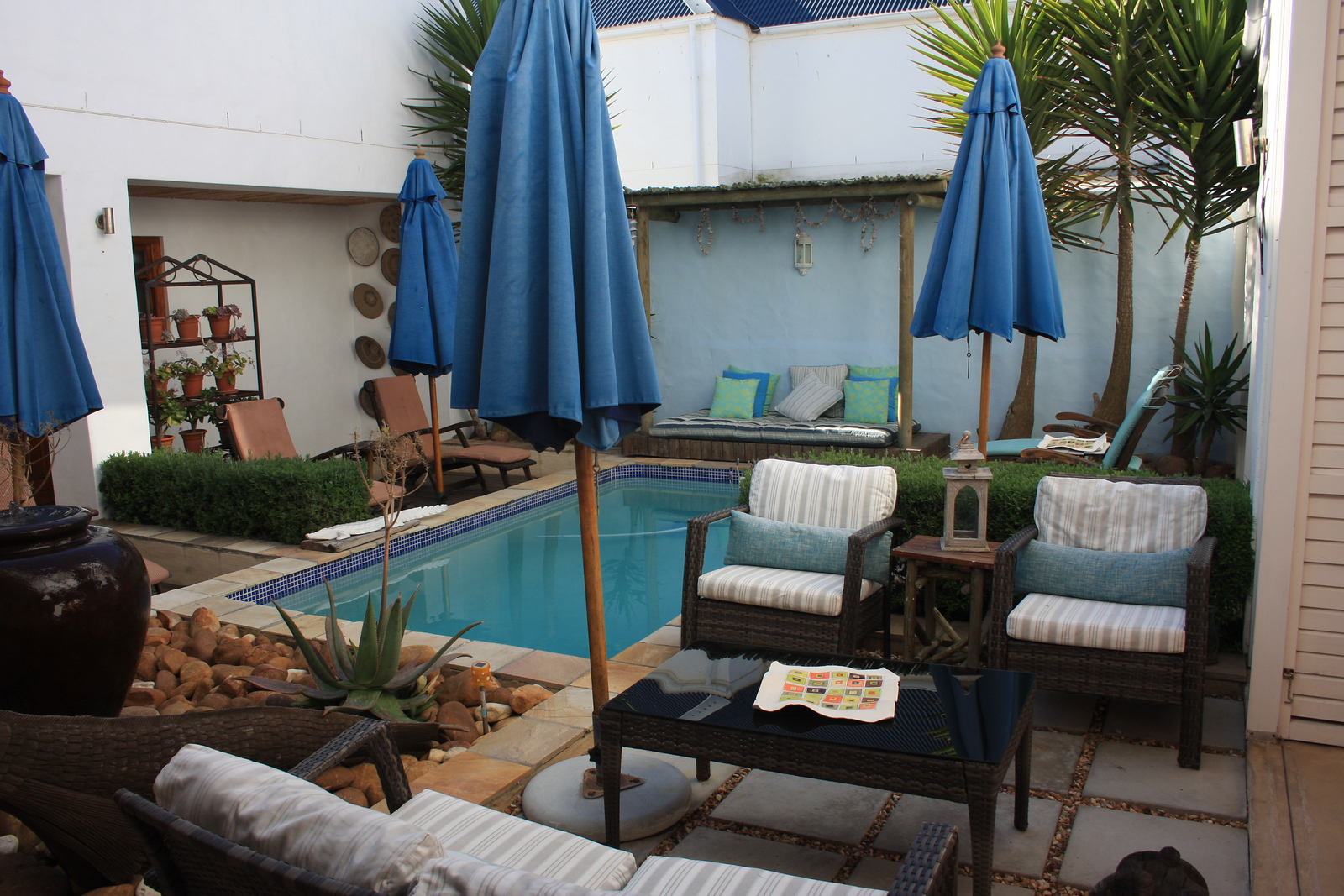 This is the inside pool courtyard inside our guesthouse.