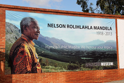 We saw a lot of Nelson Mandela-related memorials and exhibits today.  He is revered at least as a saint-level around here!  This is at the Apartheid Museum, but no pictures were allowed inside.