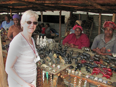 Shopping for souvenirs....we bought some stone carvings of lions from these ladies.