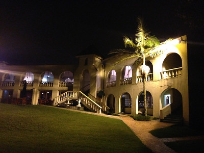 Our hotel at night.