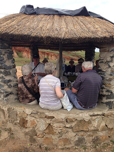 We sat in a little thatched roof hut for lunch.