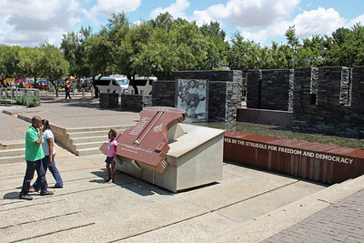 This is a memorial in Soweto to those killed in the riots.  The museum is named after 13 year old Hector Pieterson, who was one of the first people shot and killed by the police during the June 16 riots.  The photo in the background is famous for bringing world attention to the crisis in South Africa at that time.