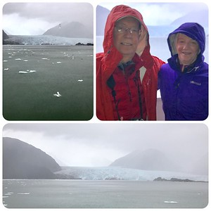 Visiting the Amalia Glacier (from the boat) in the clouds and the rain.