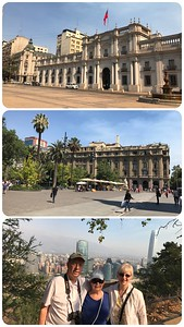 City tour of Santiago. Constitution Square and the president's office, Plaza de Armas square and a view of Santiago from the hilltop at Parque Metropolitano.