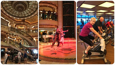 Fun day at sea....great tango show...happiness is a spin class on the ship (Bill too....somebody had to take the picture).