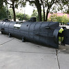 Full sized mock up of the second confederate submarine.