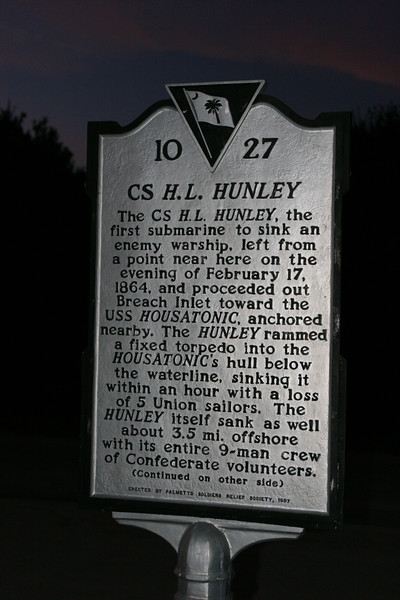 Story of the H.L. Hunley, you can see a picture of a full sized replica of it in the Charlston Museum section on this album.