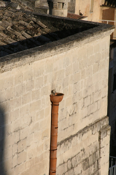 The roof down spouts were made of terracotta