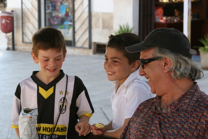 Joe made friends everywhere with all ages. In Italian they wanted to know if we knew Micheal Jordan