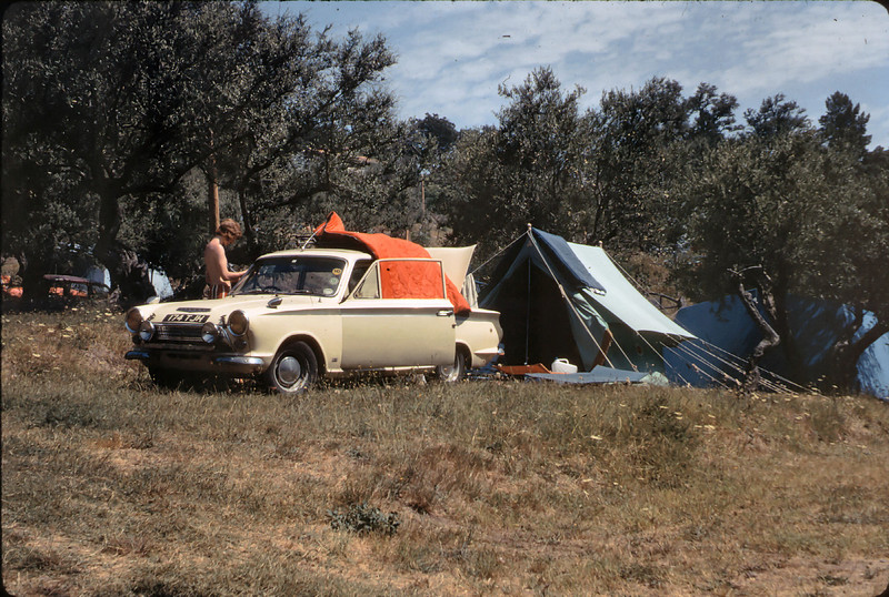 After catching the channel midnight ferry (no tunnels then!) and driving non stop we found a camp sight in the hill above the French Riviera. Three of us made the trip Terry Goldstone, Andy Rouse & myself all in the trusty 1964 Lotus Cortina.