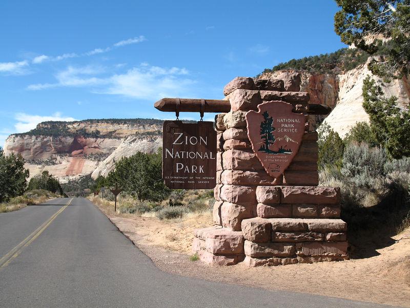 Entering Zion National Park.