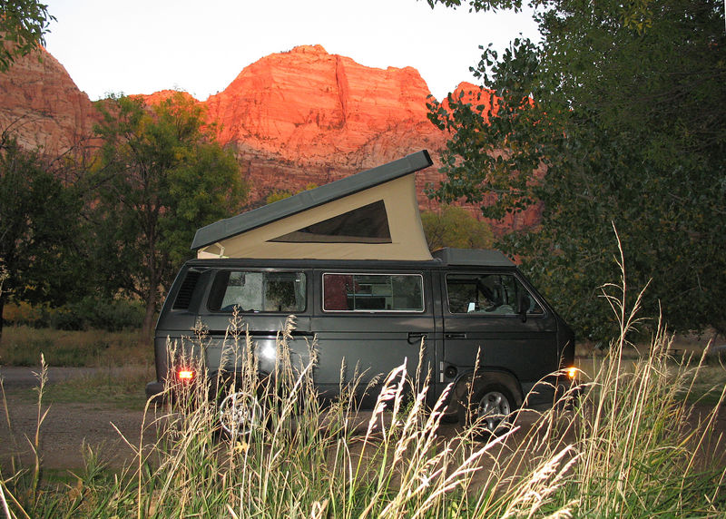 The Westy at a typical camp site.