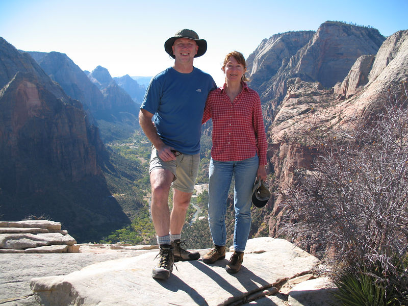 Joe and Sherry at the top of Angel's Landing.