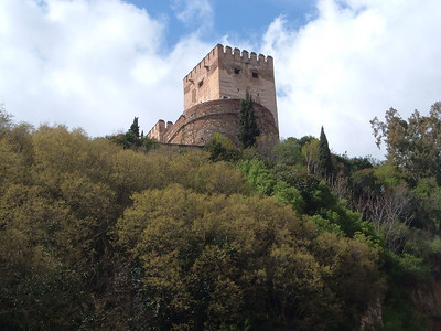 View of the Alhambra in Granada.  The Homage Tower