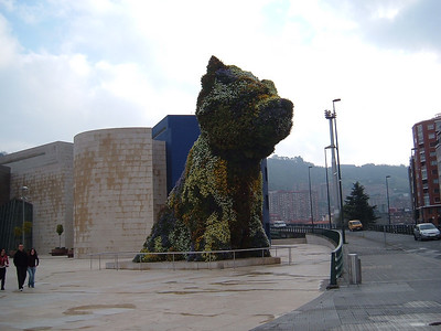 Large dog at the Guggenheim museum in Bilbao.