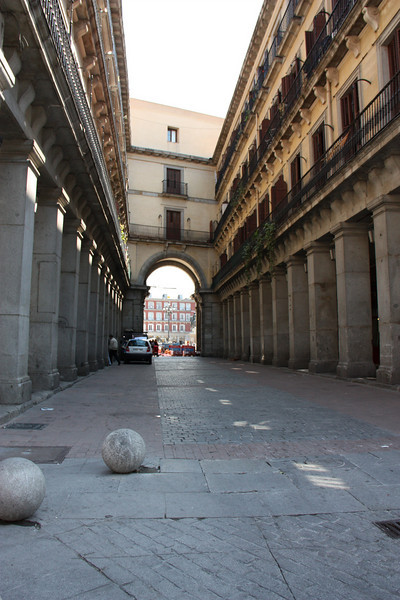 A road going into the Plaza Mayor.