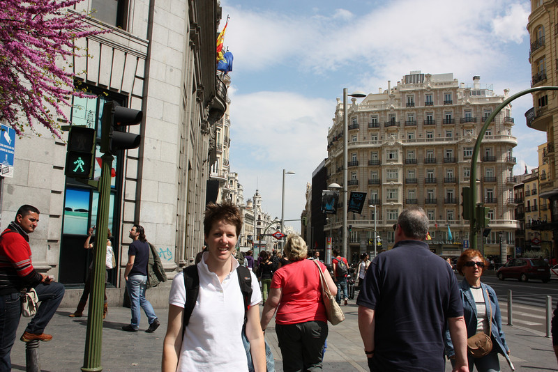 "Me on the Gran Via.  This is Madrid's ""Broadway""."