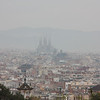 The spires of La Sagrada Familia.  It was a hazy day.