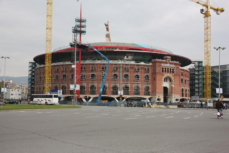 Barcelona's bullfight ring.  Apparently under renovations.