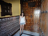 In front of an elementary school - amazing tiles and old wooden doors