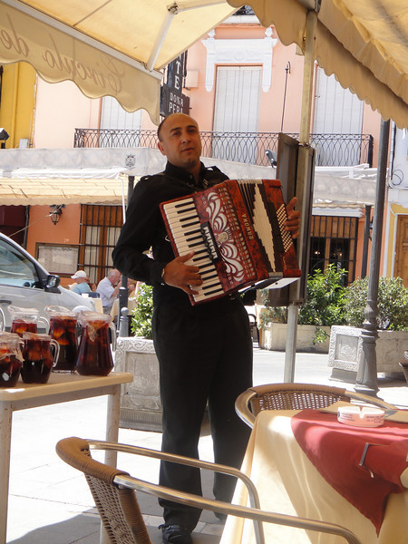 Accordian player at lunch - he was really good. Sangria ready and waiting