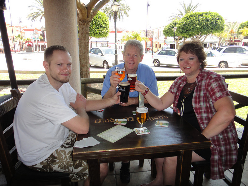 Drinking beer at an Irish pub in the South of Spain - we needed dark beer!