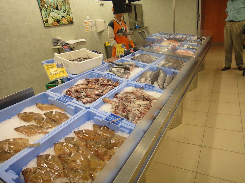 Fish section at grocery store