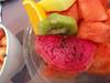 Bright pink fruit is dragon fruit. yum