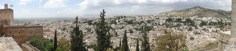 Panoramic of town outside of The Alhambra