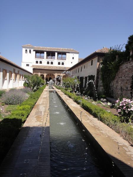 Granada - The Alhambra - bldg in the gardens