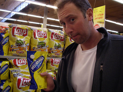 Ok, so in Chile a lot of things that we expect to come in a jar come in squeezable bags.  Mayonnaise for example...  Patrick is perplexed.