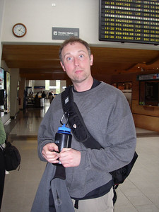 Day 1 - Just arrived at the Puerto Montt airport.  This is one of the last times Patrick has his Nalgene bottle in his possession