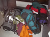 Jeff, Julie, Patrick and me - luggage!  We were supposed to bring 30-40 lbs only (right Patrick?)