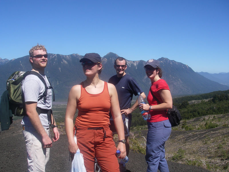 Hiking on the volcano.  Patrick is right - this looks like we're posing for a music album cover...