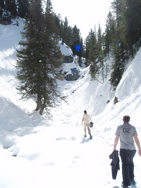 Snowshoeing up the final stretch.