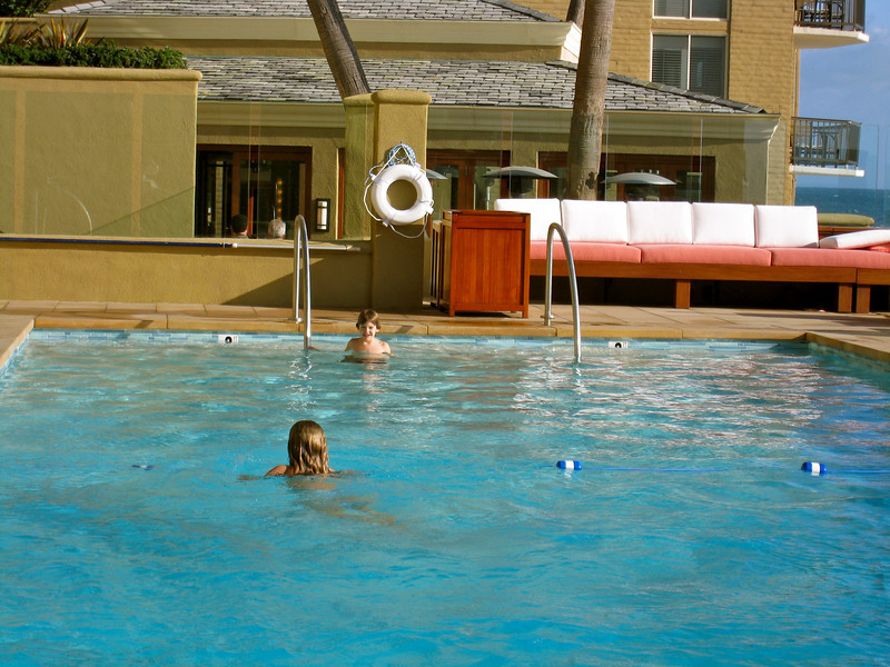 Kids enjoy pool at the Surf & Sand Resort, Laguna Beach, CA
