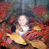 Vanessa Lynne with the fish at lego land aquarium