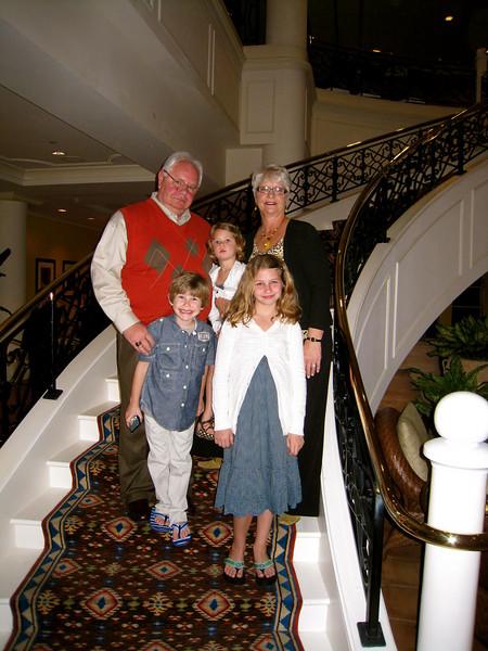 Grammy & Grampy with the grandchildren in hotel lobby before dinner.