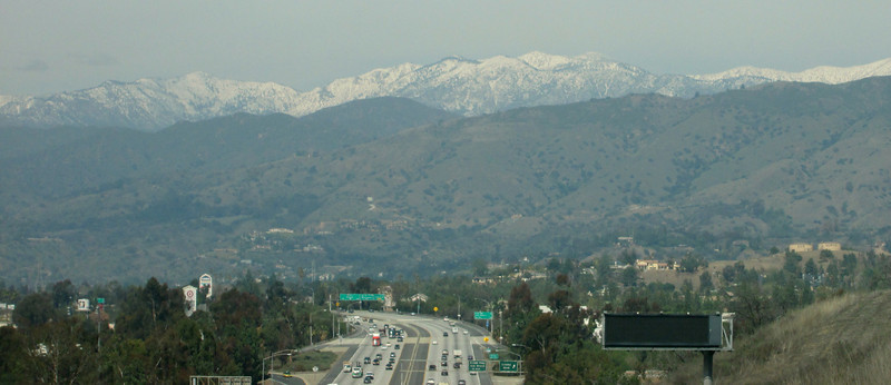 Atop a hill on the 57 freeway, going from the 10 to the 210; Pomona.