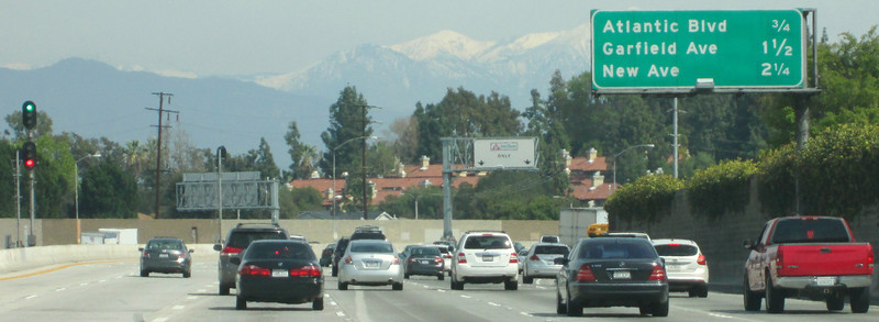 "Headed east on the 210 ""Foothill"" freeway."