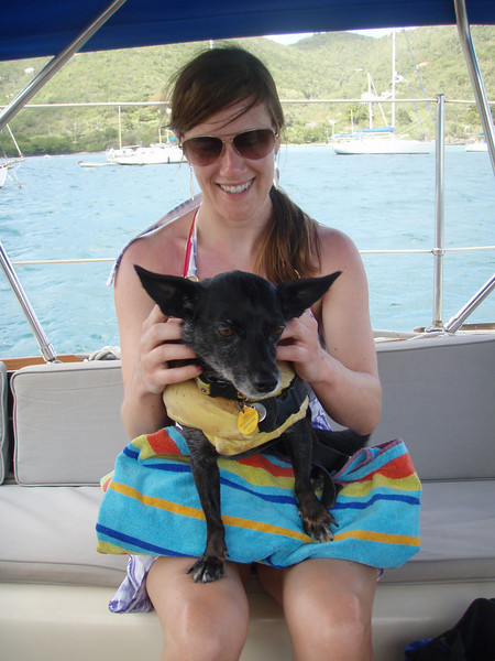 Kristin and the boat's actual owner Kiwi.  (In Kiwi's mind, anyway.)